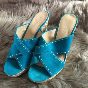 New Guess! Slip On Wedges! Blue suede.